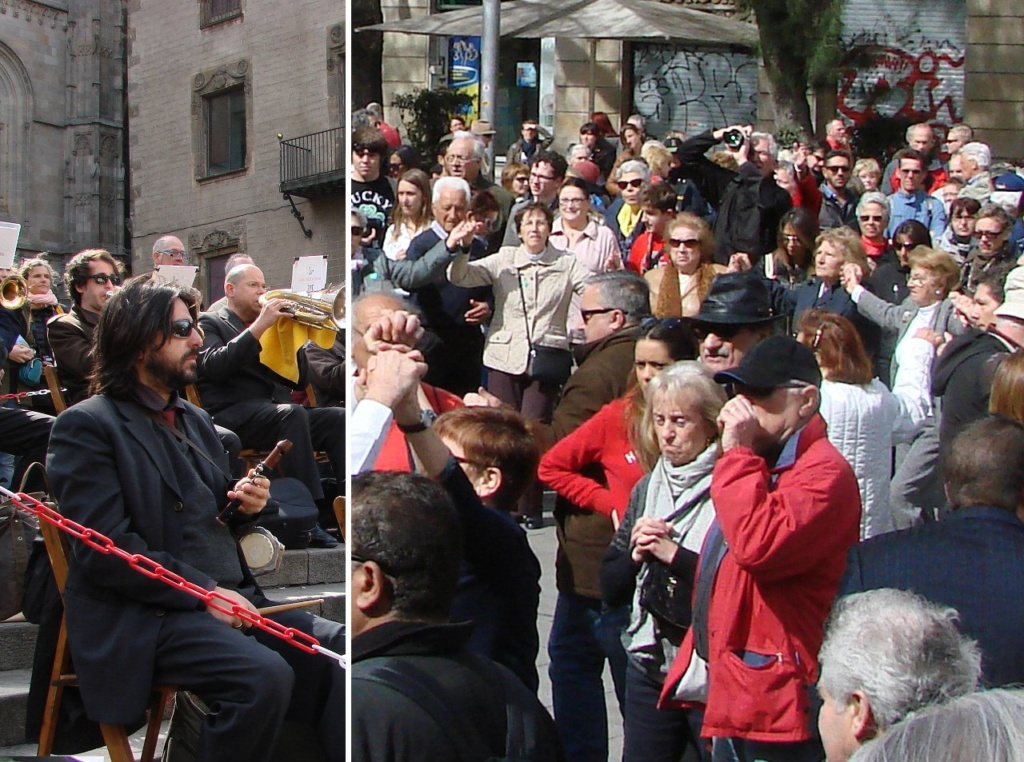 Воскресный день в Барселоне. Площадь перед Кафедральным собором. Оркестр исполняет народный танец сардану. Кто-то танцует. Другие стоят, задумавшись. Мы - среди них. Фотографируем украдкой...